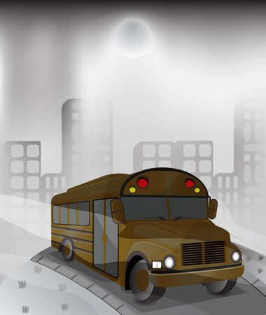 polluted: yellow bus in polluted city Illustration