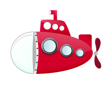 propeller: cartoon red submarine with periscop and propeller