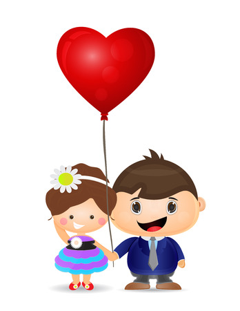 teenagers love: illustration couple boy and girl holding love balloon