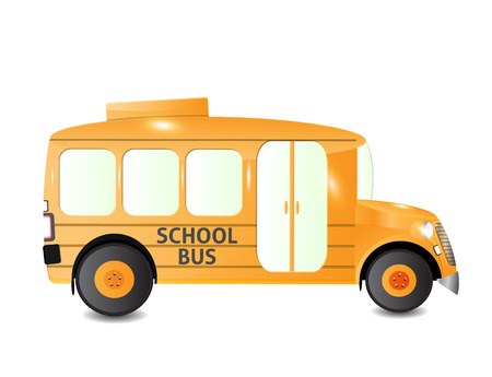 student travel: school bus side view isolated Illustration