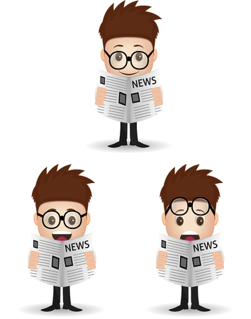 reading books: set business man character reading a newspaper Illustration