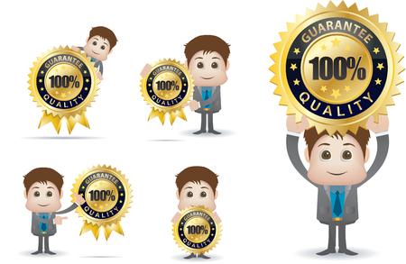badge vector: businessman character holding gold quality badge Illustration