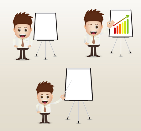 sales executive: marketing presentation with board and pointer Illustration
