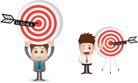 perfection: marketing goal illustration with two man character