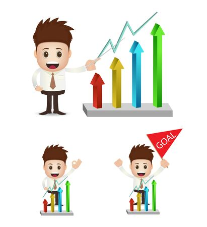 uptrend: character businessman with uptrend chart
