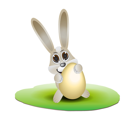 putting green: cute rabbit holdong big egg Illustration
