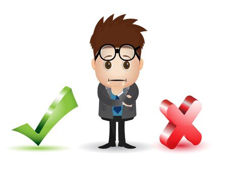 smart man: man character thingking what to choose checlist and cross sign