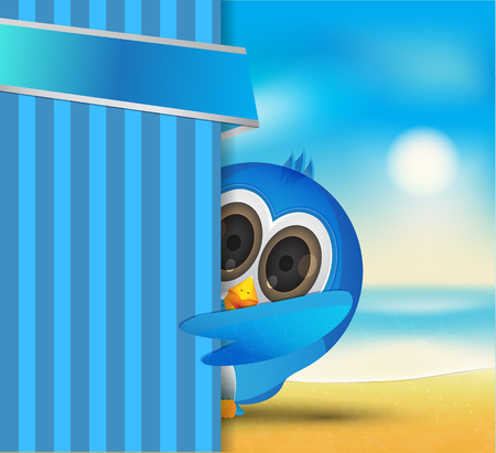 weekend activities: blue cute bird and banner on the beach