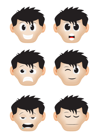 dishonesty: a set of cartoon expression black hair Illustration
