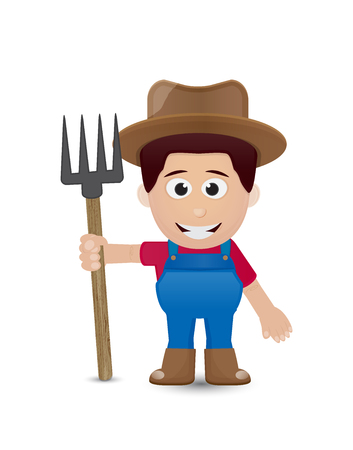 rancher: farmer character with brown hat and tool Illustration