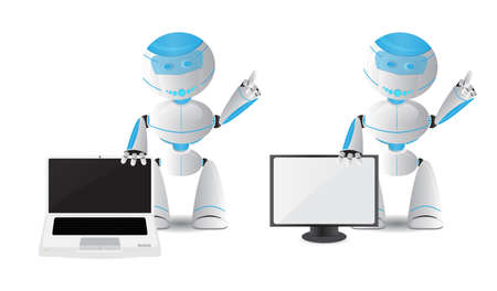 computer science: Funny robot illustration holding laptop and TV isolated on white