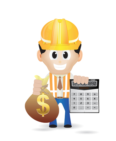 construction character holding calculator and money bag