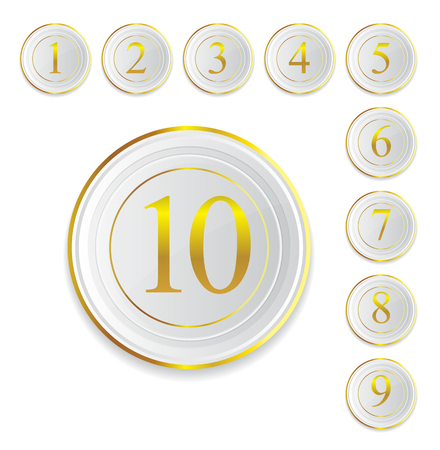 round icons number with white and gold color isolate