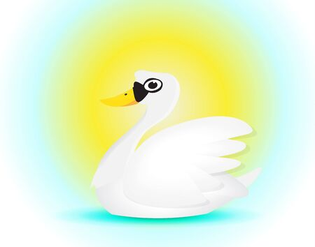 swiming: elegance swan cartoon swiming under the sun