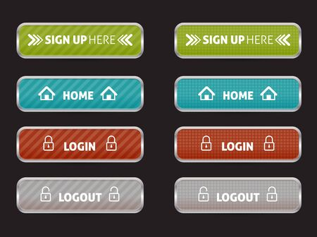 log out: set of web button home, sign up, login and log out