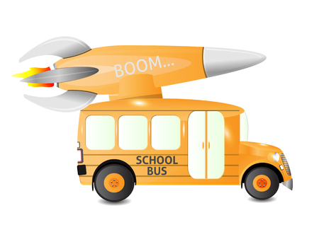 school bus side view with rocket