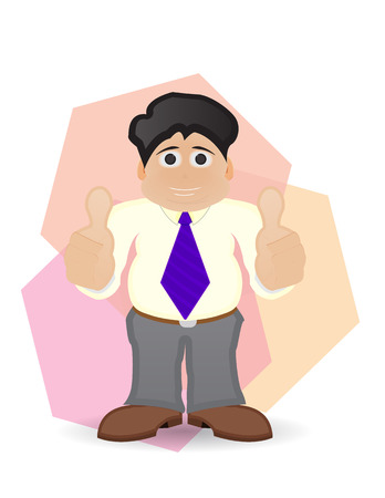 two thumbs up: character fat businessman with two thumbs up