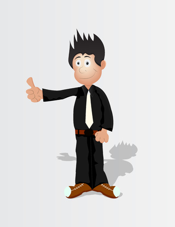 cartoon business man rise thumb up in black shirt and white tie