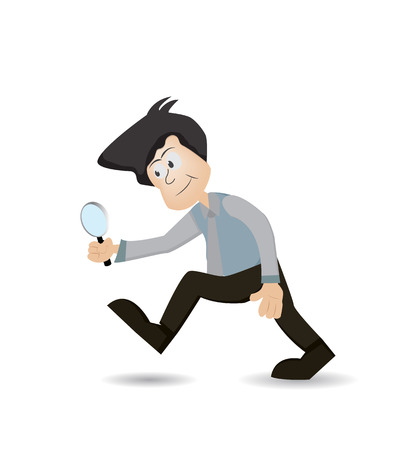 cartoon businessman using magnifying to search something