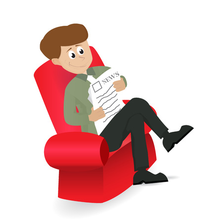 usinessman reading newspaper sitting on red chair Illustration
