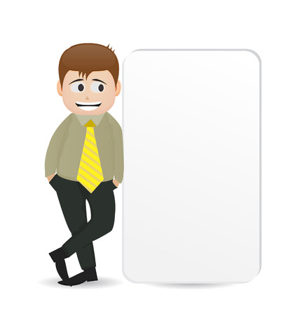 cartoon man character standing beside empty banner with happy face