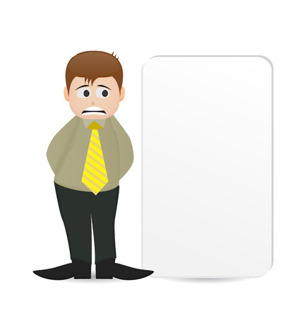cartoon man character standing beside empty banner with sad face