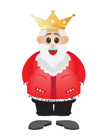 fat cartoon king with crown in red king suit