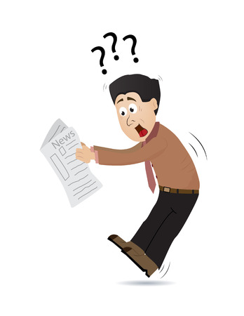 cartoon businessman suprised when reading newspaper