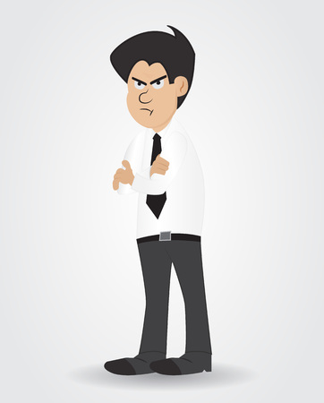 cartoon businessman with shirt and tie showing boring face Illustration