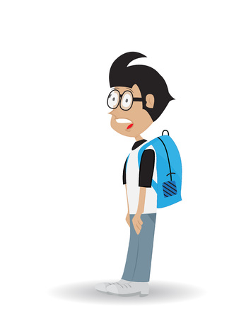 cartoon young people wearing bag and glasses with shocked expression