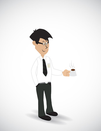 cartoon businessman carry a cup of coffee Illustration