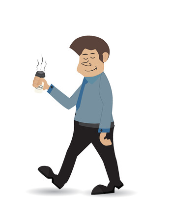 eye closed: cartoon businessman carry coffee with his eye closed isolated