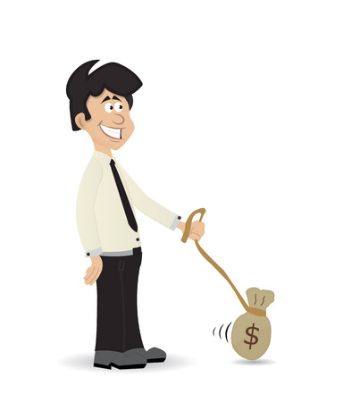 cartoon illustration businessman slave by money isolated