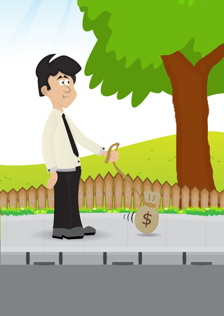 concept illustration businessman walking on sidewalk with his money pet, to love with money