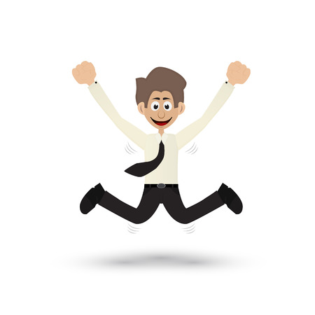 cartoon businessman jumping show happy expression