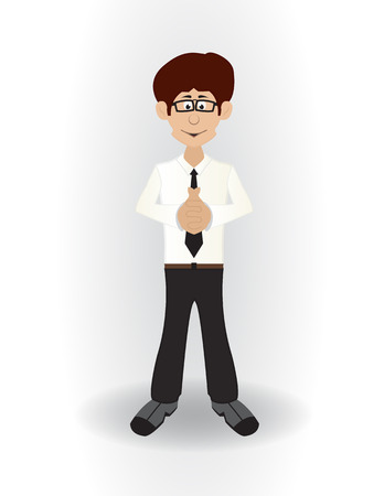 standing cartoon wise businessman with glases and wise pose Illustration