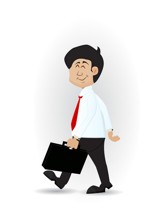 cartoon businessman walking smiling with suitcase on his hand Illustration