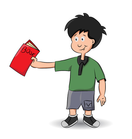 cartoon boy offering to lend his book