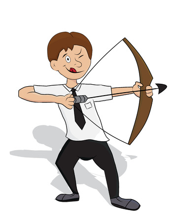 cartoon business holding bow aiming for target