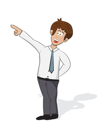 cartoon businessman pointing for direction isolated Illustration