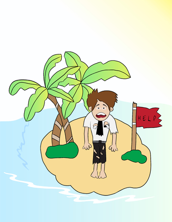 cartoon businessman looking for help in small island Illustration