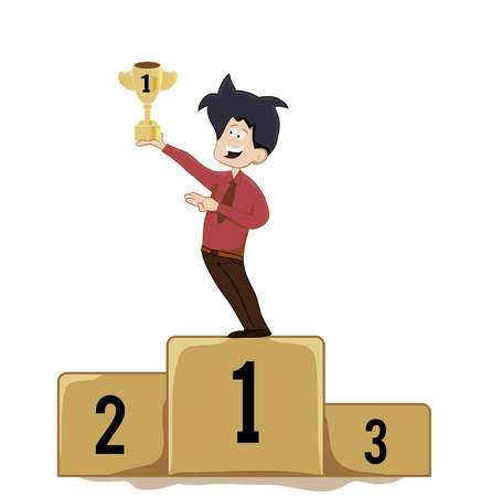 cartoon winner holding trophy on podium Illustration