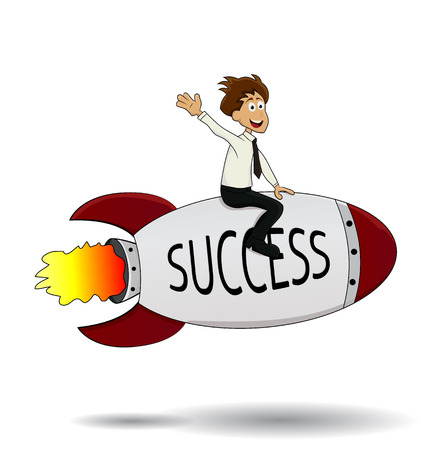 cartoon businessman success riding missille isolated waving his hand Illustration