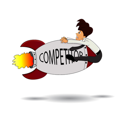 competitor: cartoon businessman hit by competitor missille isolated Illustration