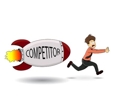 cartoon businessman running fast chasing by competitor