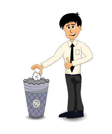 cartoon businessman throw trash in the trash bin