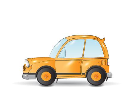 yellow car: Cartoon funny yellow car vehicle transportation isolated