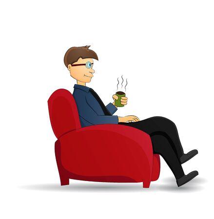 cartoon businessman drink coffee sit on red chair Illustration