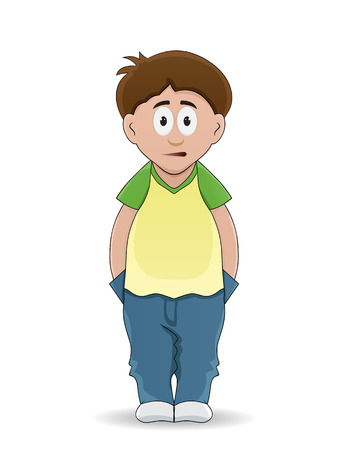 cartoon boy put hand on pocket and looking forward with fear face Illustration