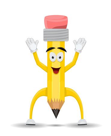 front facing: happy cartoon pencil character facing front